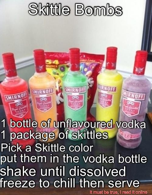 Skittle Bombs...Could probably do this with other candy as well?