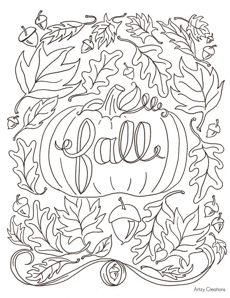Pumpkin Fall Coloring Book Page