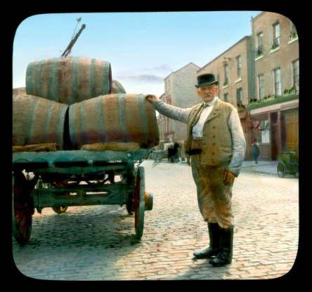 Delivering kegs of guinness, Dublin city, 1930s