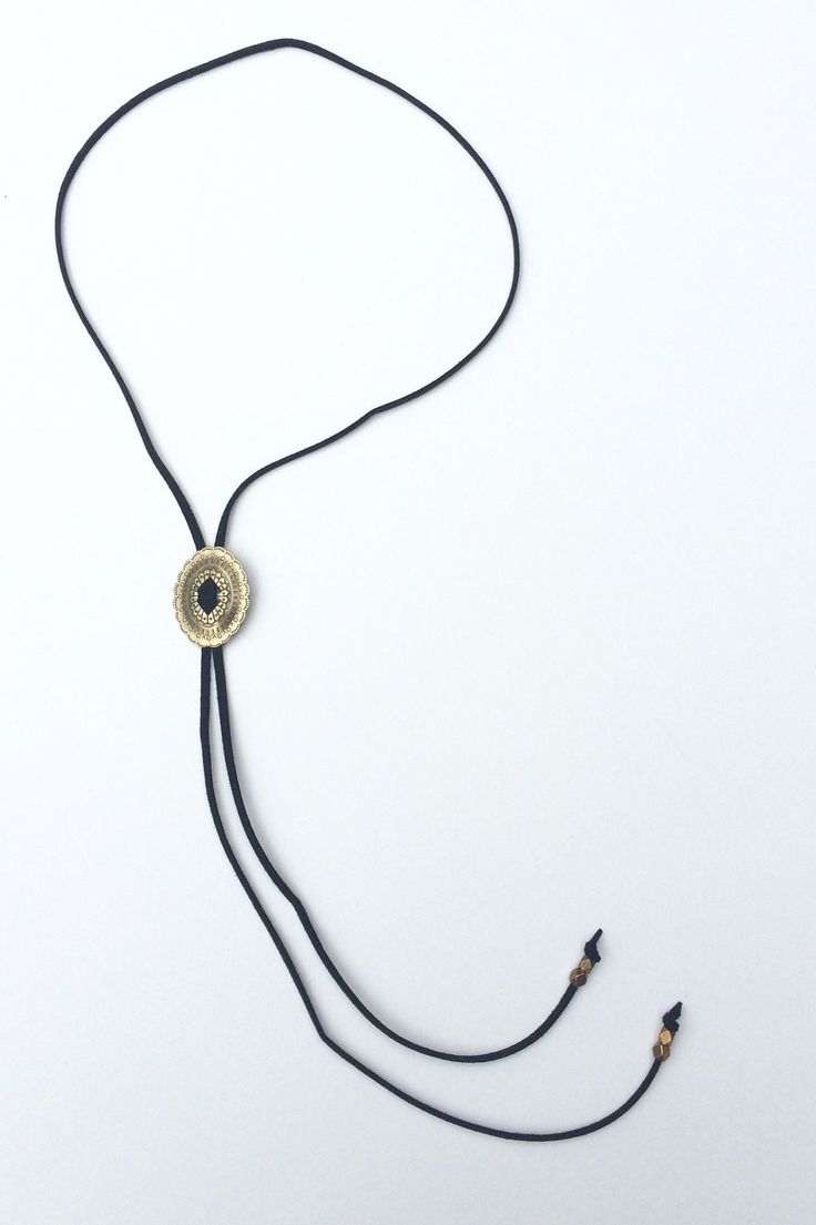 Bolo Tie Concho Necklace With Brass Beads