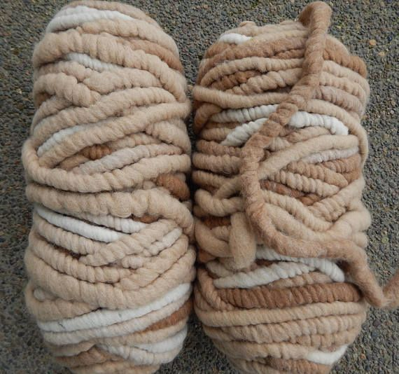 Alpaca Rug Yarn Super Bulky Shades of Fawn and White Great for