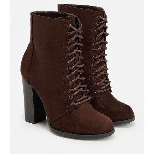 Justfab Booties Cambria ($40) ❤ liked on Polyvore featuring shoes, boots, ankle booties, brown, lace up ankle boots, brown lace up booties, laced up ankle boots, brown ankle boots and short brown boots