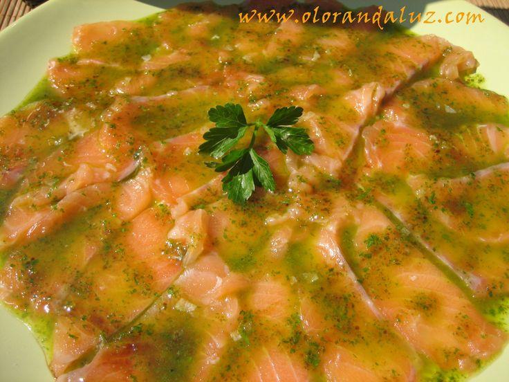 Carpaccio de salmón  http://www.olorandaluz.com/carpaccio-de-salmon/