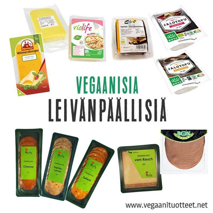 Kasviperäisiä höylättäviä juustoja, juustoviipaleita, leikkeleitä ja maustettuja tofuja, joita voi ostaa hyvin varustelluista ruokakaupoista.