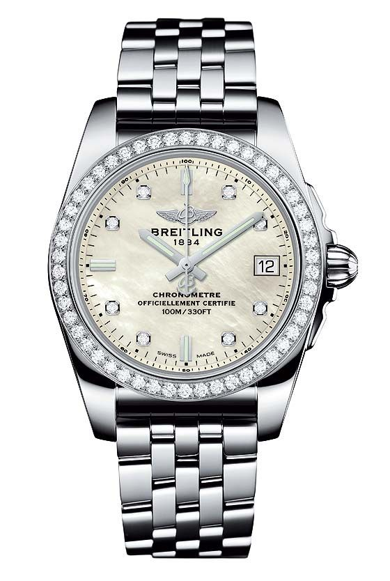 "The @breitling Galactic 36 SleekT with mother-of-pearl dial and diamond-set bezel - this ladies watch features a slim case (36 mm), is outfitted with Breitling Caliber 74, a thermocompensated ""SuperQuartz"" movement and is water-resistant to 100 meters (330 feet). For the full story, visit: http://www.watchtime.com/wristwatch-industry-news/watches/a-tough-ladies-breitling-galactic-36-sleek-t/ #breitling #watchtime #ladieswatches #wristcandy"