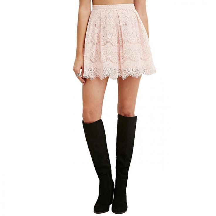 Fashion Lace Mini Skirts Women High Waist Slim Female A-line Skirts Brief Style Solid Pink Casual Skirts