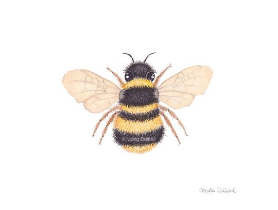 Bee Art Bumble Print Watercolor By MartaDalloul
