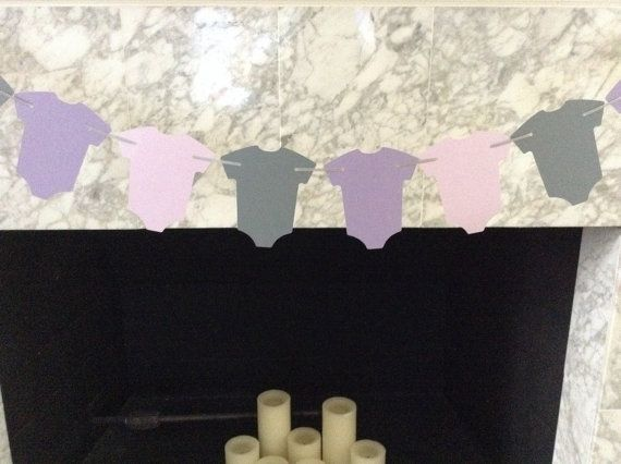Lavender and Gray Baby Shower Decor Purple and Gray by PaperStrip