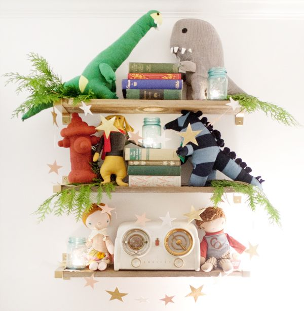 shelves.: Party'S, Nod Parties, Nod Holidays, How To Shelves, Gray Dinosaurs, Holidays Decor, Wood Shelves, Little Monsters, Land Of Nod