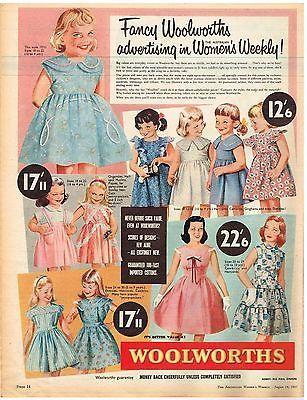 WOOLWORTHS ADVERTISING GIRLS DRESSES AUSTRALIAN Original 1957 Vintage Print Ad
