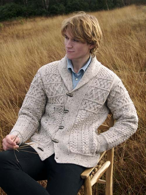 SHAWL COLLAR CARDIGAN WITH TOGGLE BUTTONS by Natallia Kulikouskaya for West End Knitwear, Ireland