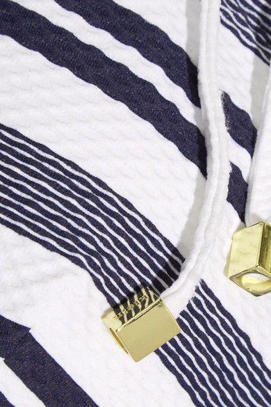 Heidi Klein - Martha's Vineyard Striped Stretch-cloqué Halterneck Bikini Top - Navy - x small