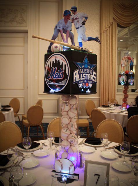 Mets Themed Baseball Centerpiece with Cutout Photos of Bar Mitzvah Boy