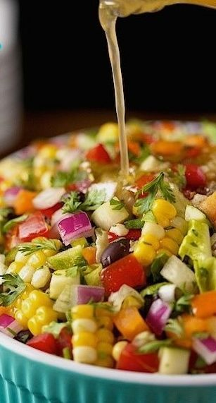 Mexican Chopped Salad ~ Fresh, vibrantly colored and full of flavor!