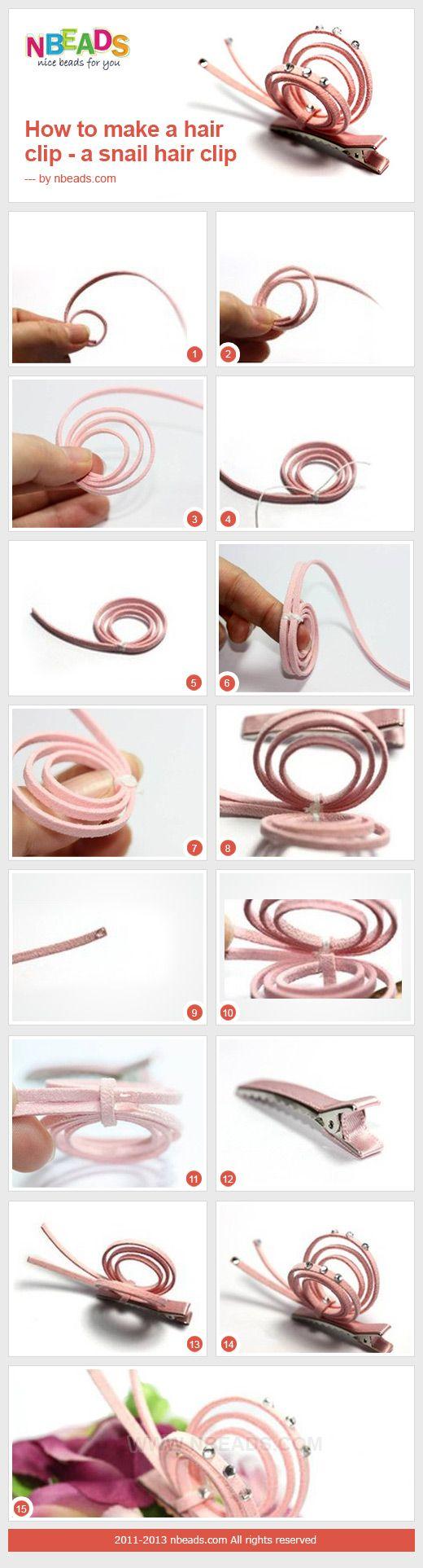 how to make a hair clip - a snail hair clip