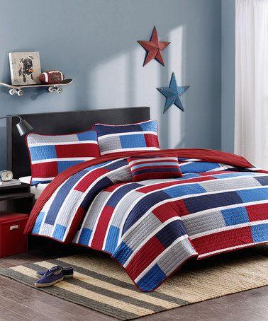 Another great find on #zulily! Red & Blue Stripe Kyle Bedding Set #zulilyfinds