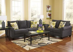 Nolana Charcoal Sofa & Loveseat found on http://www.myfurnituremecca.com/category/showsorted. Sale:	$699.99