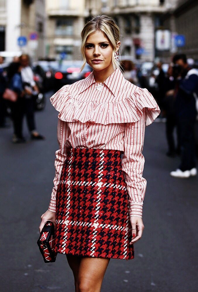 Spotted! Lala Rudge in this Miu Miu woollen skirt we've also seen in our studio. See how we repaired it http://www.londonfittingrooms.com/le-boudoir/how-to-repair-knitwear-and-woollen-clothing