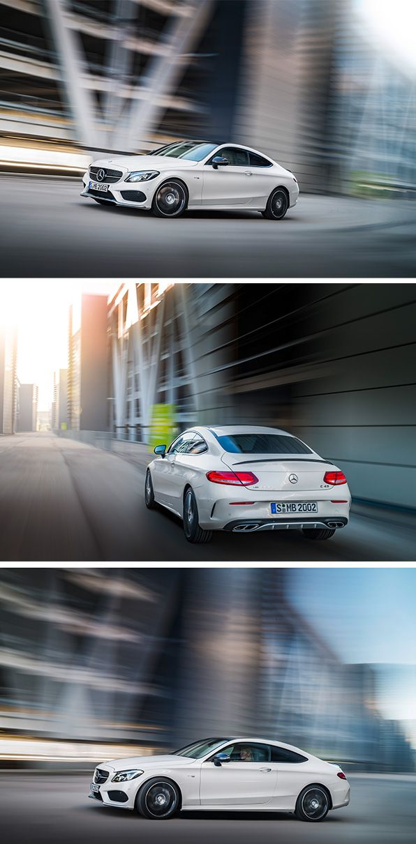Instantly thrilling. The new C-Class Coupé. [Mercedes-AMG C 43 4MATIC | combined fuel consumption 8.0–7.8 l/100km | combined CO2 emission 183–178 g/km | http://mb4.me/efficiency_statement]