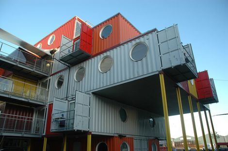 """Several Mexican designers have taken container recycling to a grand scale by creating a """"Container City"""" out of them. The city offers 4500 m2 of urban space about two hours from Mexico City and makes use of 50 metal containers that are recycled into hippie stores, bookstores, art galleries, bars, restaurants, bakeries, juice bars and work and living spaces."""