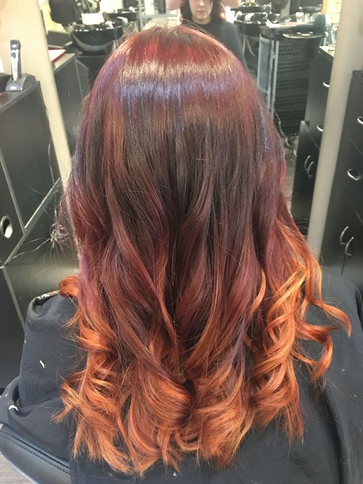 Hair by Kendra. Intense Red Ombré. To book an appointment with Kendra, call (780) 467-3288 or visit our website at www.sylviaco.com. Located in Sherwood Park, Alberta, Canada.