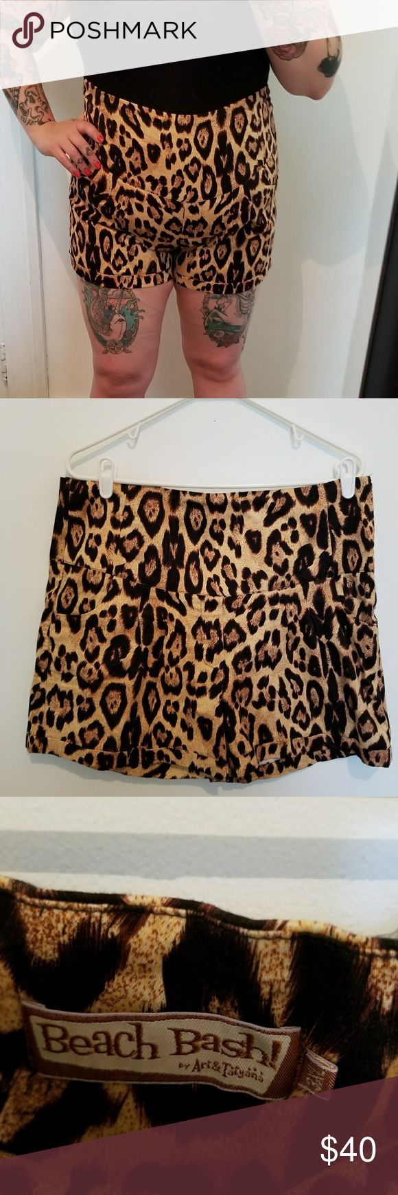 High wasted cheetah shorts Bought from a super cute pin up boutique. Although the size says 3x it fits like a size 16. art&tatyana Shorts