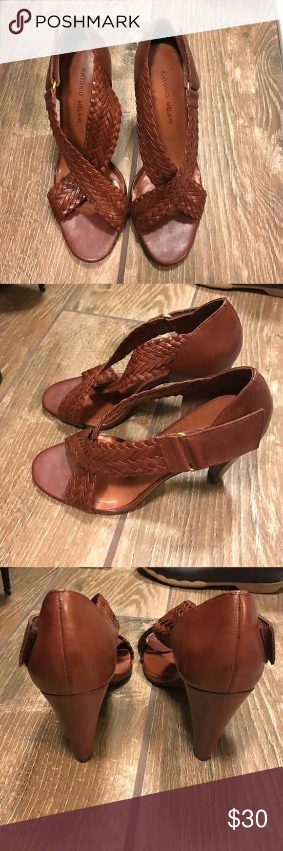 Antonio Melani Brown Strappy Heels Beautiful Antonio Melani heels. The strap is Velcro on the side. In used condition but still look great, the only real issue is the padded is coming up by the toes (see picture) ANTONIO MELANI Shoes Heels