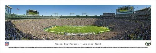 Green Bay Packers panoramic print. This NFL Football panorama is by Blakeway Worldwide. Packers photograph is printed on pH neutral heavy art stock with U.V. resistant inks. Officially licensed print