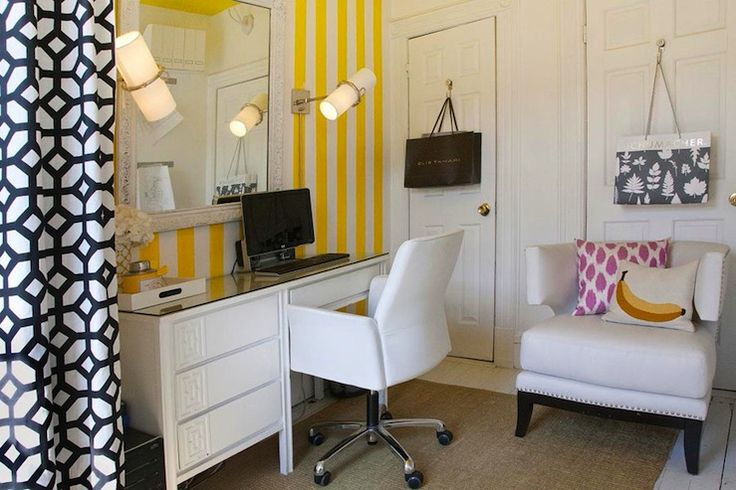 yellow-black-white office design - geometric curtain - stripes wallpaper