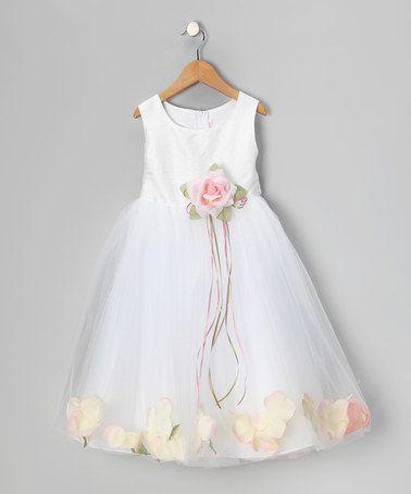 Look at this #zulilyfind! White & Pink Petal Silk Dress - Infant, Toddler & Girls #zulilyfinds