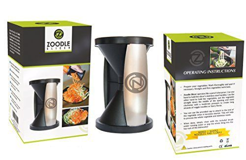 THE ORIGINAL ZOODLE SLICER  Premium Vegetable Spiralizer Spiral Slicer Zucchini Noodle Pasta Spaghetti Maker Create Both Julienne Spirals & Fettuccine Floral (Recipe eBook and Cleaning Brush Included)