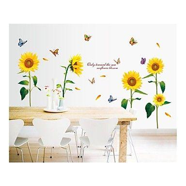 vegg klistremerker veggoverføringsbilder, stil sol blomst og sommerfugl farge pvc vegg klistremerker - NOK kr. 158