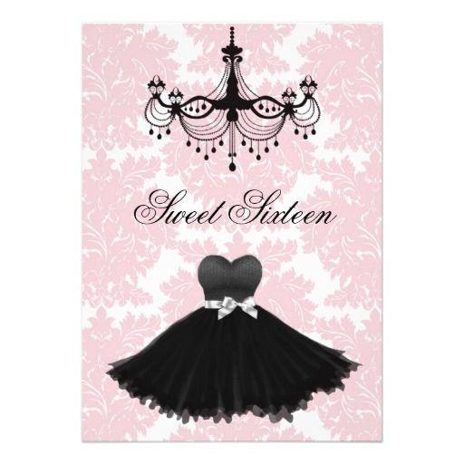 Pink black damask chandelier sweet sixteen birthda invites