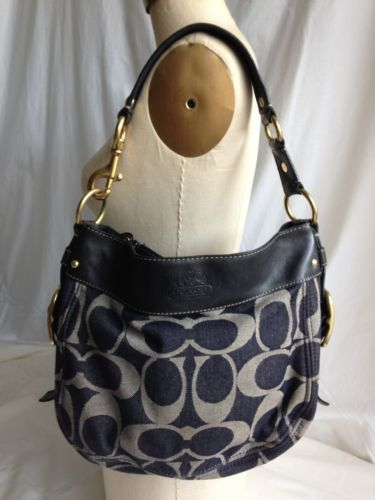 Coach Signature Logo Denim Shoulder Bag Handbag Blue Hobo Purse Gorgeous Brass | eBay