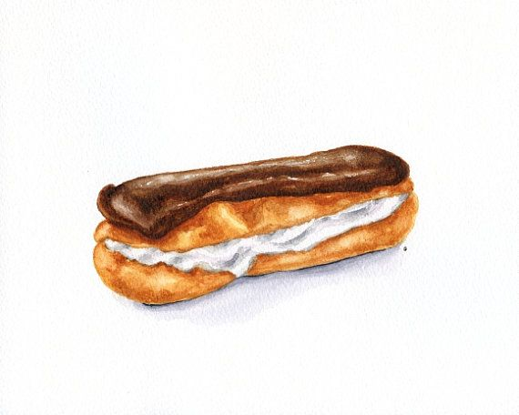 Chocolate Eclair - ORIGINAL Painting (Still Life, Kitchen Wall Art, Watercolour Food Illustration) 8x10: