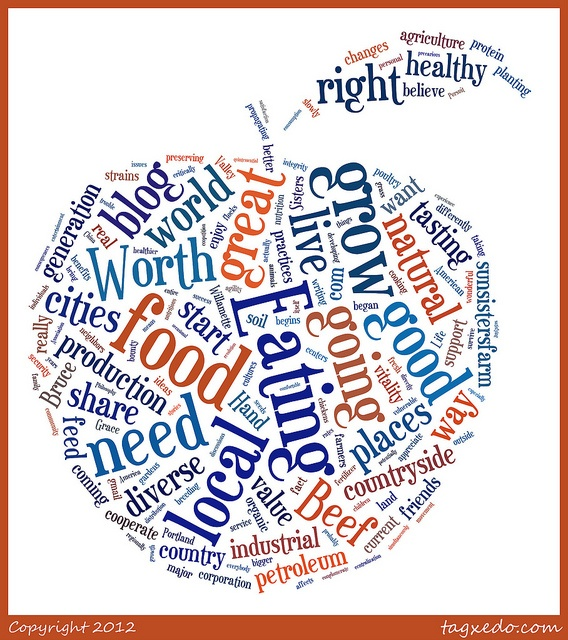 Very Cool Blue Apple word-cloud image which appeared at tagxedo.com reflecting the key words and concepts of the first regular posting on the Food Worth Eating Blog, posted today---hosted at sunsistersfarm.com