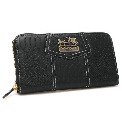Coach Accordion Zip In Croc Embossed Large Black Wallets CCQ