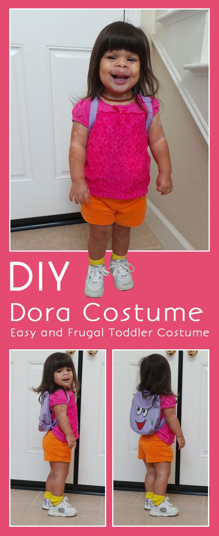Easy DIY Dora Halloween costume - we used every day pieces to make a super cute costume for our little Dora fan to trick or treat!
