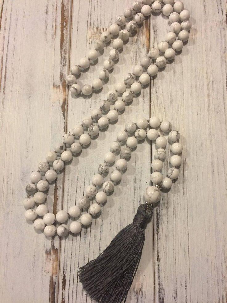108 Natural Howlite Stone Mala Prayer Beads Necklace