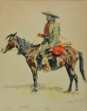A BUNCH OF BUCKSKINS: A TRAPPER  Frederic Remington  Realized Price 1,920 USD  Dimensions: 14.5 X 18.75 in.  LIthograph  Signed  http://www.zaidan.ca/Art_Gallery/Auctions/13_08_10_Altermann_Galleries,_Santa_Fe_August_Auction.htm