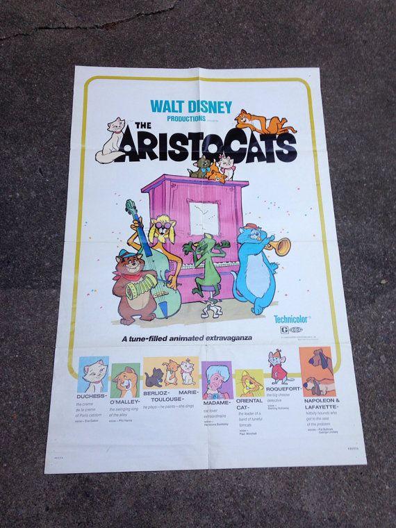 Original 1970 Walt Disney Aristocats Movie Poster. R800156 27 x 41  on Etsy, $23.96