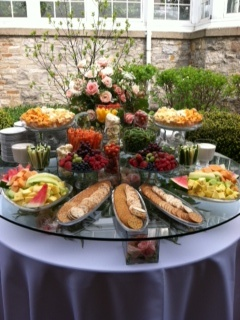 Glass Top Table Fruit & Cheese Display