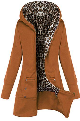 Meaneor Womens Winter Fleece Hoodie Zip Front Sweatshirt Long Jacket Camel L >>> You can find out more details at the link of the image.