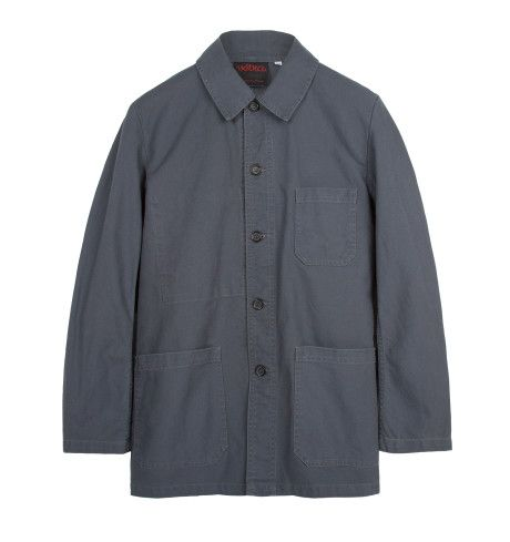 Vetra Style 4 Workwear Jacket in Grey. Vetra has been designing and manufacturing traditional French workwear since 1927. This simple 'Style 4' five-button jacket is a classic workwear item that will pair nicely with raw denim, chinos or cords. The jacket is made in France from a tough 'dungaree' cotton drill in steel grey, and has been washed for a softened, aged feel.