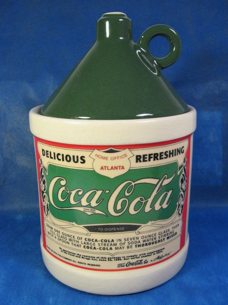 Coca Cola Coke Cookie Jar Canister Green Label & Lid 1993 NR