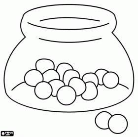 Glazen pot met snoep ballen kleurplaat