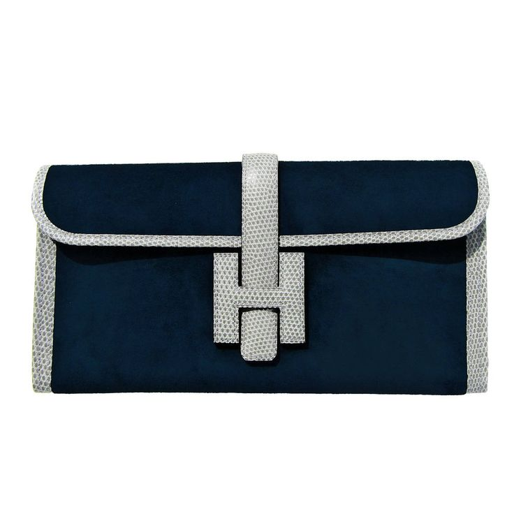 Hermes Blue Ocean Doblis Gris Fonce Lizard Trim Jige Elan  29cm Unisex Clutch   From a collection of rare vintage evening bags and minaudières at https://www.1stdibs.com/fashion/handbags-purses-bags/evening-bags-minaudieres/
