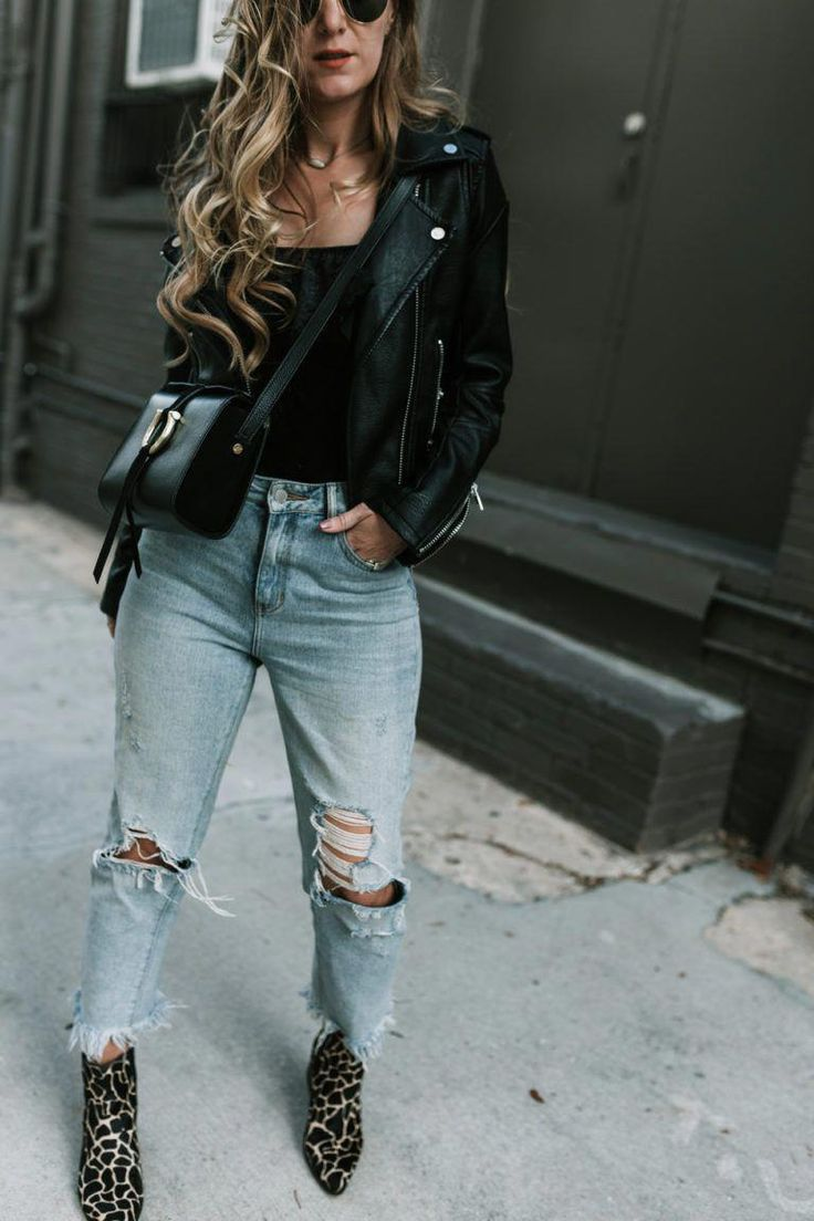 Shannon Jenkins from Upbeat Soles styles an edgy weekend outfit with distressed Levis, metallic booties, leather moto jacket, and velvet bodysuit #Wom...