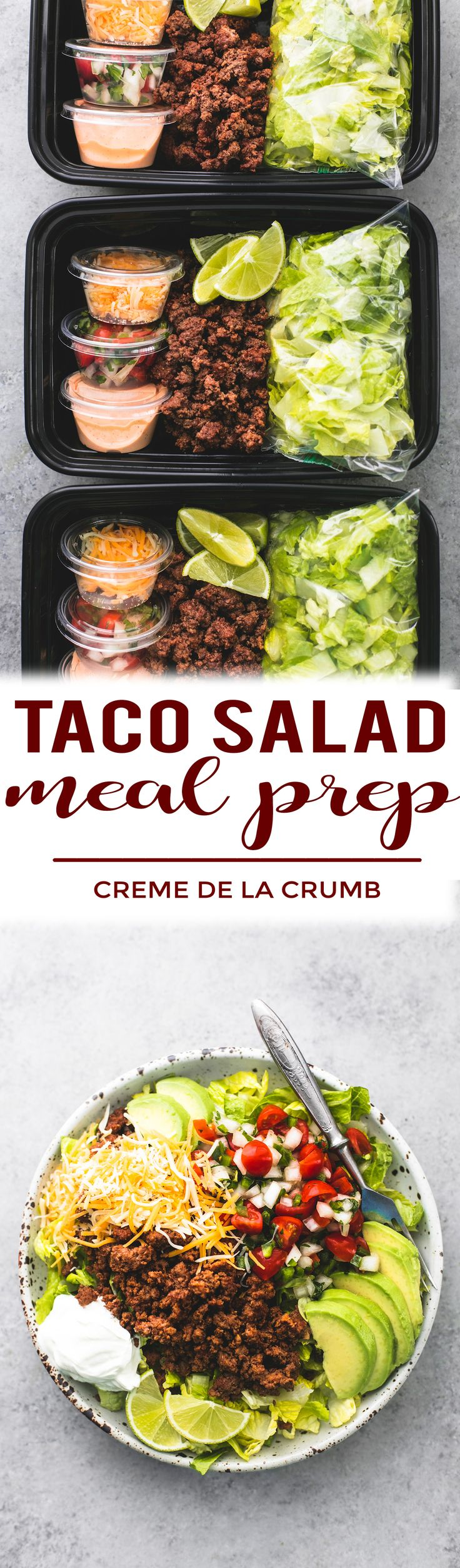 Easy and healthy taco salad meal prep bowls you can make ahead for dinner or lunches with savory seasoned ground beef, fresh lettuce, cheese, and pico, and chipotle ranch dressing. | lecremedelacrumb.com #mealprep #tacosalad #groundbeefrecipe #easyrecipe #familyfriendly #cremedelacrumb