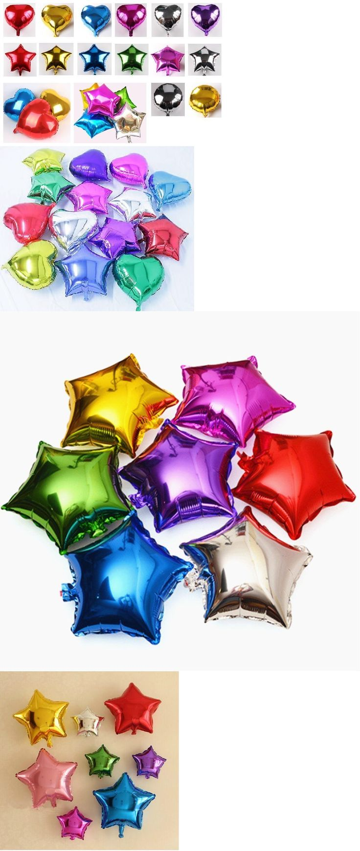 Balloons 26384: 1-24X 10 18 Heart Round Star Solid Foil Balloon Helium Baby Shower Bride Bday -> BUY IT NOW ONLY: $34.95 on eBay!